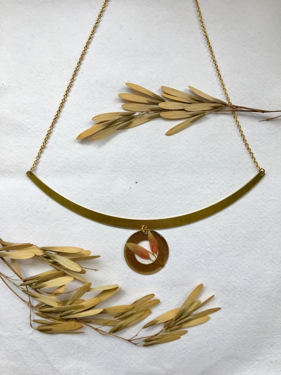 brass statement necklace basswood leaves
