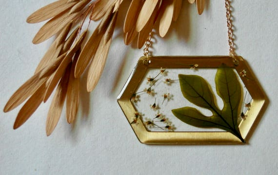 Sassafras leaf and Queen Anne's lace hexagon