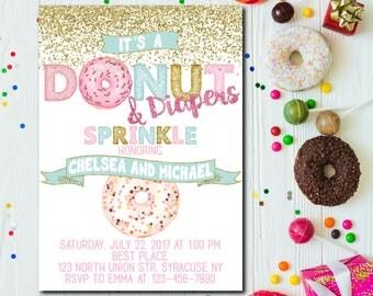 Donut and Diapers Sprinkle Invitation, Donut and Diapers Baby Shower Invitation, Donuts Baby Shower, Pastel Donut Invitation - 1677