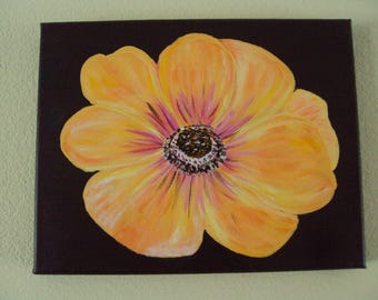 Yellow Flower with Brown Background