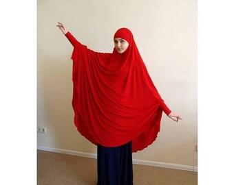 10% OFF Transformer Red Khimar, niqab burqa, cherry niqab, traditional burqa, French hijab,ready to wear hijab, long hijab,burka, cosplay