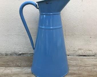 Vintage French Enamel pitcher jug blue water enameled 2308175