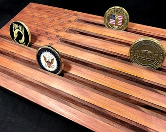 Wood American Flag - Military Challenge Coin Display Holder - customizable - personalized