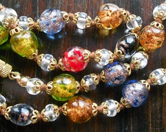 Vintage Murano Glass Bead Necklace, Handmade Italian Lampwork Glass Beads