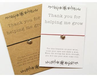 Wish Bracelet / Thank you for helping me grow / teacher wish / teacher gift / nursery gift / leaving school