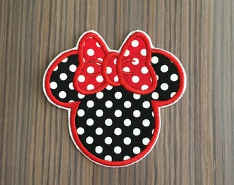 Black and Red Polka Dot Minnie Mouse Iron on Applique Patch