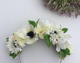 Cream Flower Headband, Cream Flower Crown, Daisy Hair Flower, Anemone, Cream Wedding Crown, Boho Hair Flower, Festival Headband, Easter Hair