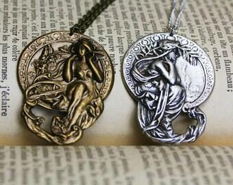 Mucha arts pendants, victorian pendant, steampunk jewelry, art nouveau necklace, victorian lady pendant, art nouveau jewelry