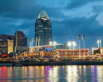 Great American Ballpark  Printed on Canvas, Cincinnati skyline, Large Cincinnati Reds Print, Cincinnati wall art, Canvas gifts, art