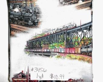 Fabric -1 yard piece -Trains/train stations/tracks/ALL ABOARD train scenic/box cars/travel/on the go/Elizabeth's Studio  8501E-BLU (#3456)