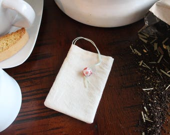 Reusable Tea Bags, Set of 3 Cotton Reusable Tea Bags with Glass Charm