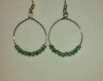 Delicate Sterling Silver Hoops with Smokey Aqua Beads