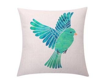Printed bird throw pillow covers Cute turquoise bird decorative pillow case Bird cushion cover Linen cushion case Sofa Home decor gift 18x18
