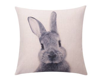 Easter rabbit throw pillow cover Bunny rabbit decorative pillow case Gray rabbit cushion cover Linen cushion case Sofa home decor gift 18x18