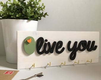 Olive You Key Hook - Food Pun Home Decor - Couples Key Storage Solution - Foodie Gift - Anniversary Gift - Handmade Wooden Olive Sign