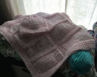 Hand Knitted Pink Baby Car Seat Blanket with Hat