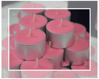 Hand Poured Soy Wax Tealight Candles (9 Hour Tealights) - Velvet Rose Scented