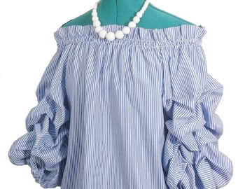 Off-the-Shoulder-Blouse -  Blue White Stripes - Size Small