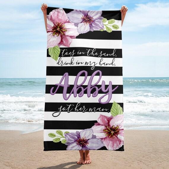 Custom Bride Beach Towel, personalized towel, bride towel, beach towel, bride beach towel, wedding towel, bath towel, bathroom decor, towels