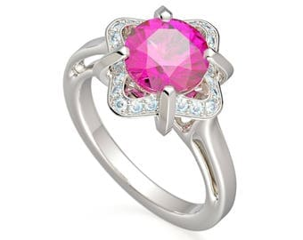 Original 14K White Gold 2.0 Ct Pink Sapphire Diamond Halo Engagement Ring G1154-14KWGDPS