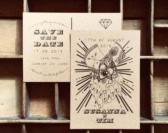 Tattoo Save The Date Postcards // Alternative Save The Date Postcards // Alternative Wedding Stationery // Tattooed Bride