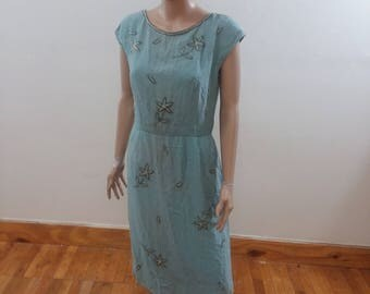 1960s Sky Blue Beaded Town & Country Dress