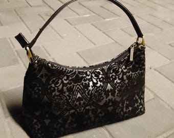 Vintage 70's Suzy Smith baroque handbag, velour baroque print, dark grey satin, vintage bag