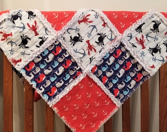 Baby boy rag quilt - nautical nursery - Anchor baby quilt - Whales - Crabs - baby shower gift- baby boy gift - Rag quilt baby - baby gift