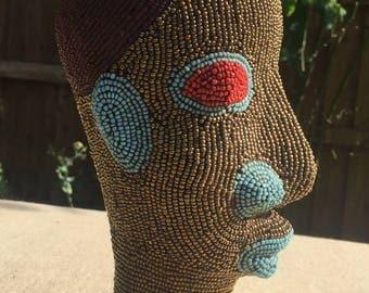 African beaded head