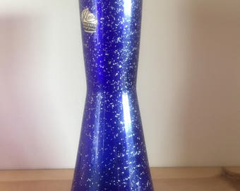 Vintage Geometric Concave Cobalt Blue Glass Vase with Silver Flecks