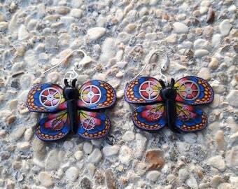 Polymer clay steampunk blue butterfly earrings