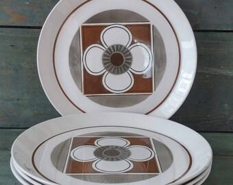 Vintage Mikasa Duplex Contempo Pattern, 4 Dinner Plates by Ben Seibel, Mid-Century Modern