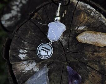Blue Lace Agate Pendent - Aquarius Necklace - Zodiac Necklace
