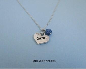 Gran Pave Crystal Rhinestone Charm Necklace-Gran jewelry-Gran gift-Gran necklace-Gran-Gran Birthday gift, N1401