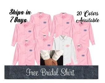 Set of 7 Bridesmaid Shirts, Button Down Shirts-Monogrammed-Bridesmaid Shirt Set-Bridesmaid oxford shirts
