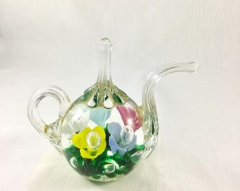 Vintage Paperweight, Glass Paperweight, Teapot Paperweight, Easter Decor, Kitchen Decor, Spring Decor, Glass Floral, St Clair Paperweight