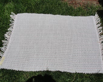 """Hand Woven Rug Gray Cotton Cotton Blend fabric size 25""""x 38"""" Item# V-144-O"""