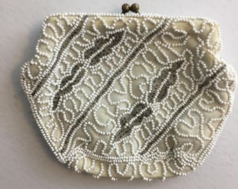 Vintage Women's Walborg Hand Made Beaded White Silver Clutch Purse Made in Belgium