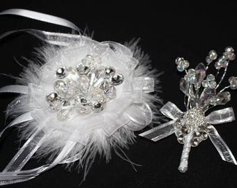 Hand Made COMBO Bridesmaid Made of Honor Groom  Corsage and Boutonniere Brooch Rhinestone Feather Puff