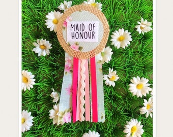Maid Of Honour Hen Party Rosette Badge