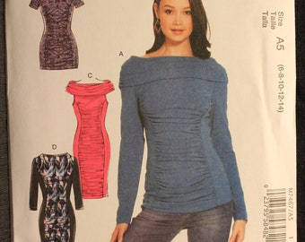 McCalls 7467   Misses' Ruched and Paneled Top, Tunic and Dresses in Sizes 6-8-10-12-14