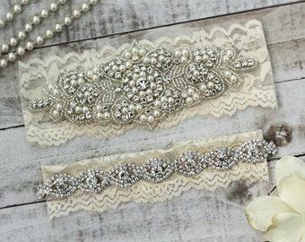 Pearl Bridal Garter Set NO SLIP grip vintage rhinestones, pearl and rhinestone garter set, wedding garters