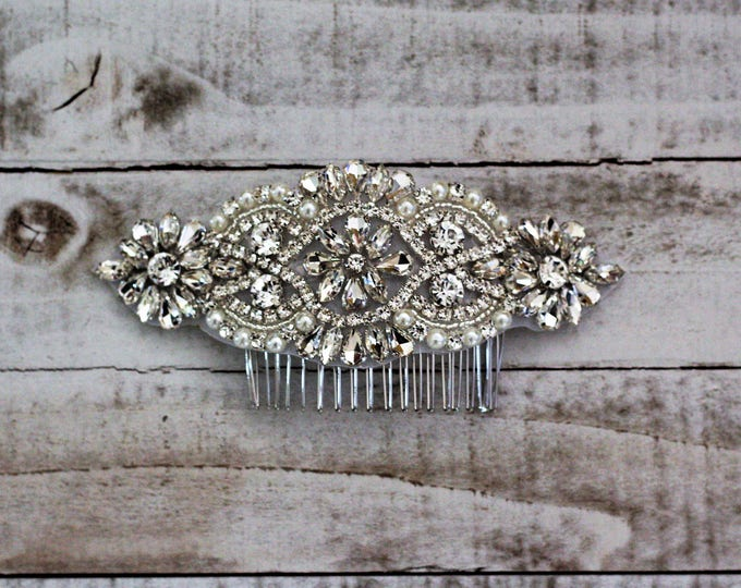 Wedding Hair Comb, Pearl and Rhinestone, Bridal Headpiece, Rhinestone Hairpiece, Hair Tiara, Hair Jewelry, Bridesmaid, Hair Accessory