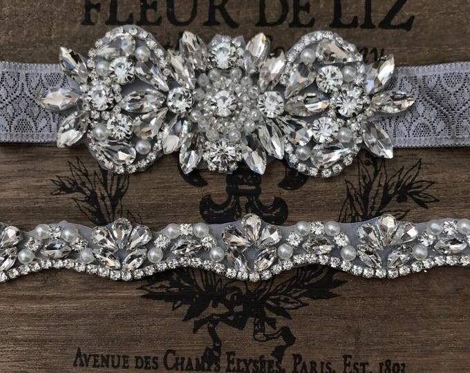 Bridal garter set, Wedding Garter Set NO SLIP grip vintage rhinestones