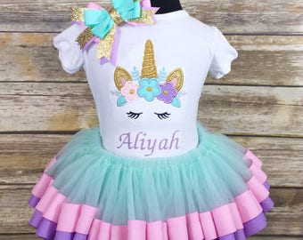 Unicorn Embroidered Shirt | Ribbon Trimmed Tutu Set | Pastel Birthday | Babygirl | Girl | Unicorn Outfit