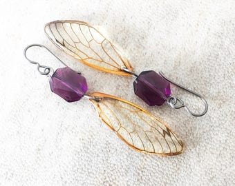 Niobium Earrings Cicada Wing Earrings Real Bug Insect Lover Gift Nature Earrings Preserved Specimen Real Cicada  Eco Resin Wing