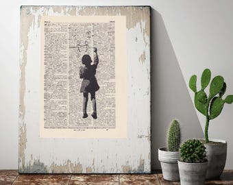 Print BANKSY - PAINTING BOY - antique book page