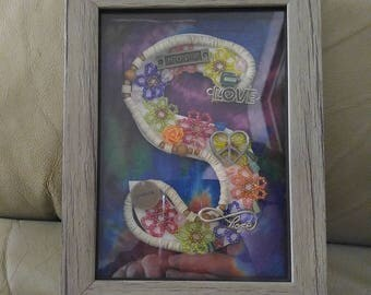 S hippy themed shadow box