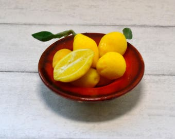 1:12 scale dollhouse miniature bowl of lemons