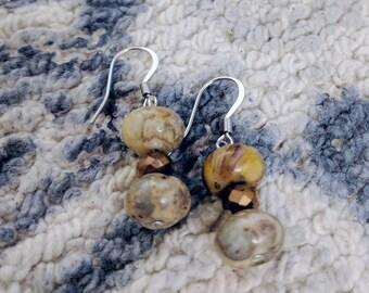 Brown Marble Earrings